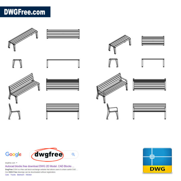 Benches Furniture DWG CAD Blocks
