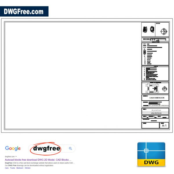 Border and Sidebar for Architectural Plans 90x60 DWG CAD