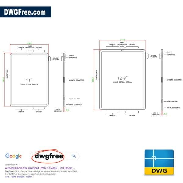 iPad-Pro-Size-CAD-block-in-AutoCAD-file